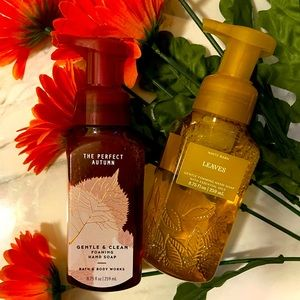 """NWT🏷🍂🍁 Set Of 2 B&B Works """"Leaves"""" & """"The Perfect Autumn"""" Foaming Hand Soaps"""